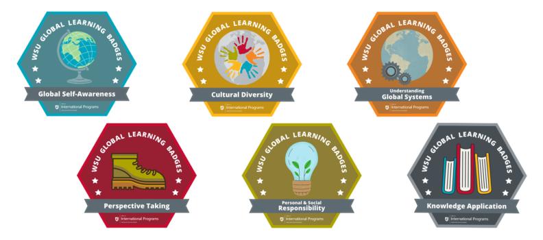 Illustration of six digital badges.