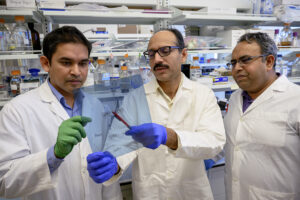 Closeup of Haque, Ahmed, and Singh in a lab.