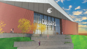 A rendering of WSU's proposed indoor practice facility