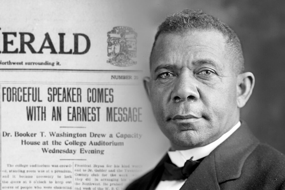 Closeups of Booker T. Washington and a 1913 issue of the Pullman Herald that covered his visit.