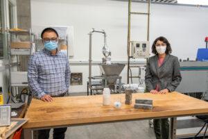 Professors Somayeh Nassiri and Hui Li with nanochitin sample.