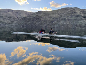 Cougar Crew rowers practice on the Snake River.