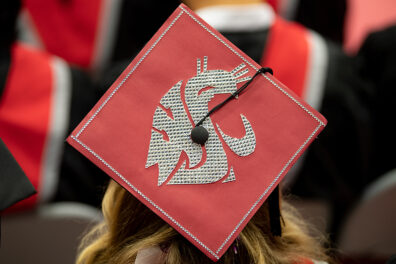 Mortarboard with WSU cougar logo on top.