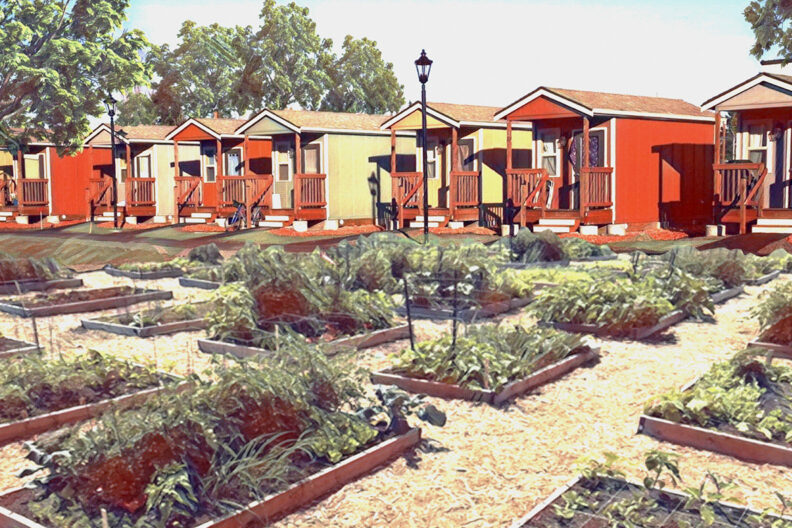 Rendering of a tiny homes community.