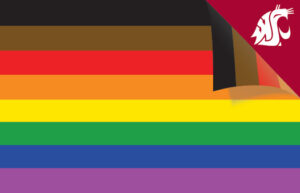 A Philadelphia Pride Flag Zoom background featuring several stripes of colors and a WSU cougar logo in the top right corner.