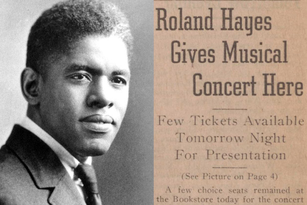 Closeup of Roland Hayes and portion of a Daily Evergreen article covering his upcoming concert.