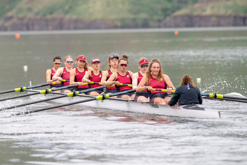 WSU Cougars women's rowing team competing on the Snake River.