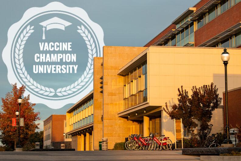 Vaccine Champion University logo with image of the WSU Pullman campus.