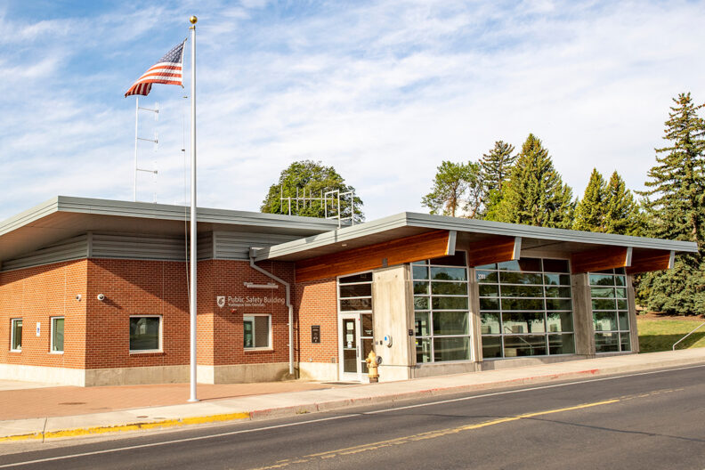 Exterior view of the WSU Pullman Public Safety Building from across the street.