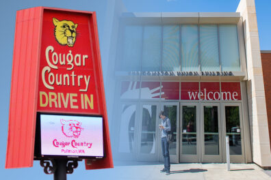 Closeup of a sign and electronic reader board outside Cougar Country Drive In and an exterior entrance to the Compton Union Building on the WSU Pullman campus.