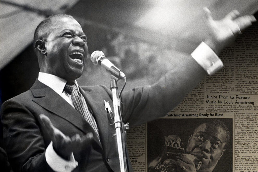 Closeups of Louis Armstrong and an issue of the Daily Evergreen promoting his upcoming performance for the Junior Prom.
