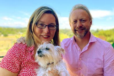 Mona McGraw, Jeff Stuncard, and their dog, Keylo.