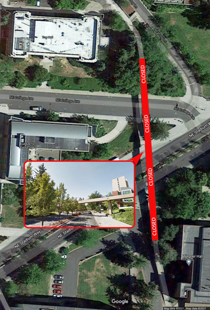 Map illustrating the closure of a footbridge between Troy Hall and Wegner Hall on the WSU Pullman campus.