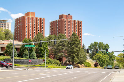 The intersection of Main Street and Stadium Way in Pullman, with a view of the WSU campus in the background.
