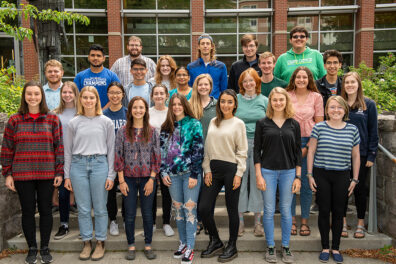 A group photo of student researchers