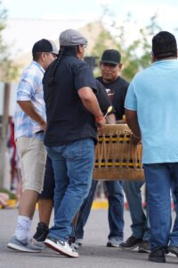 Native drummers play together in Albuquerque, New Mexico