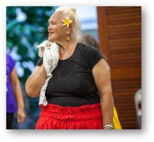 Closeup of dancer at community health program