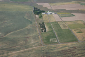 An aerial view of the Lind Dryland Research station.