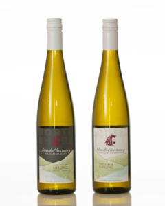 A closeup of two Riesling wines made by WSU students