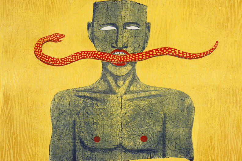 A closeup of the painting Snake Man by Alison Saar.
