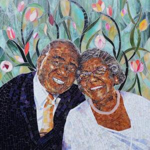 Mosaic portrait of Thelma and Nat Jackson by Jennifer Kuhns.