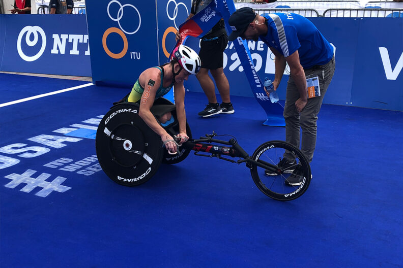Closeup of a para triathlon athlete