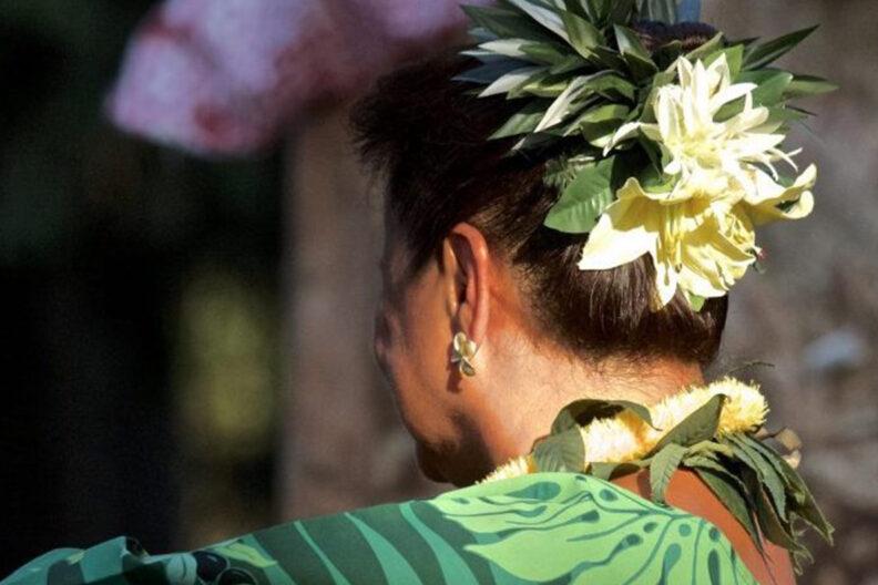 Closeup of a hula dancer