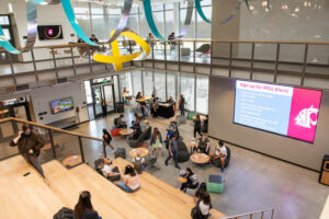 The atrium of Collaboration Hall.