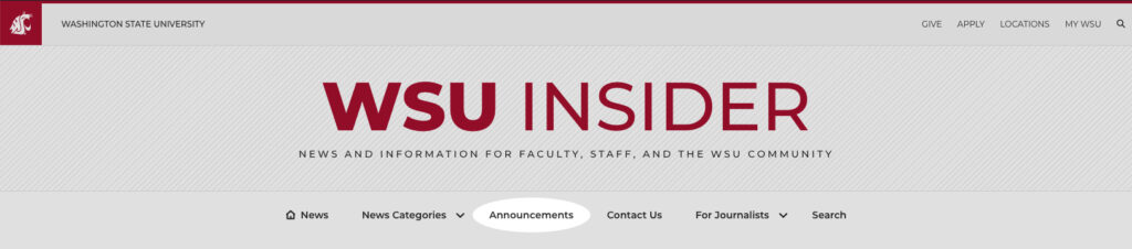 The masthead of the new WSU Insider website showcasing where Announcements will be in its navigation.