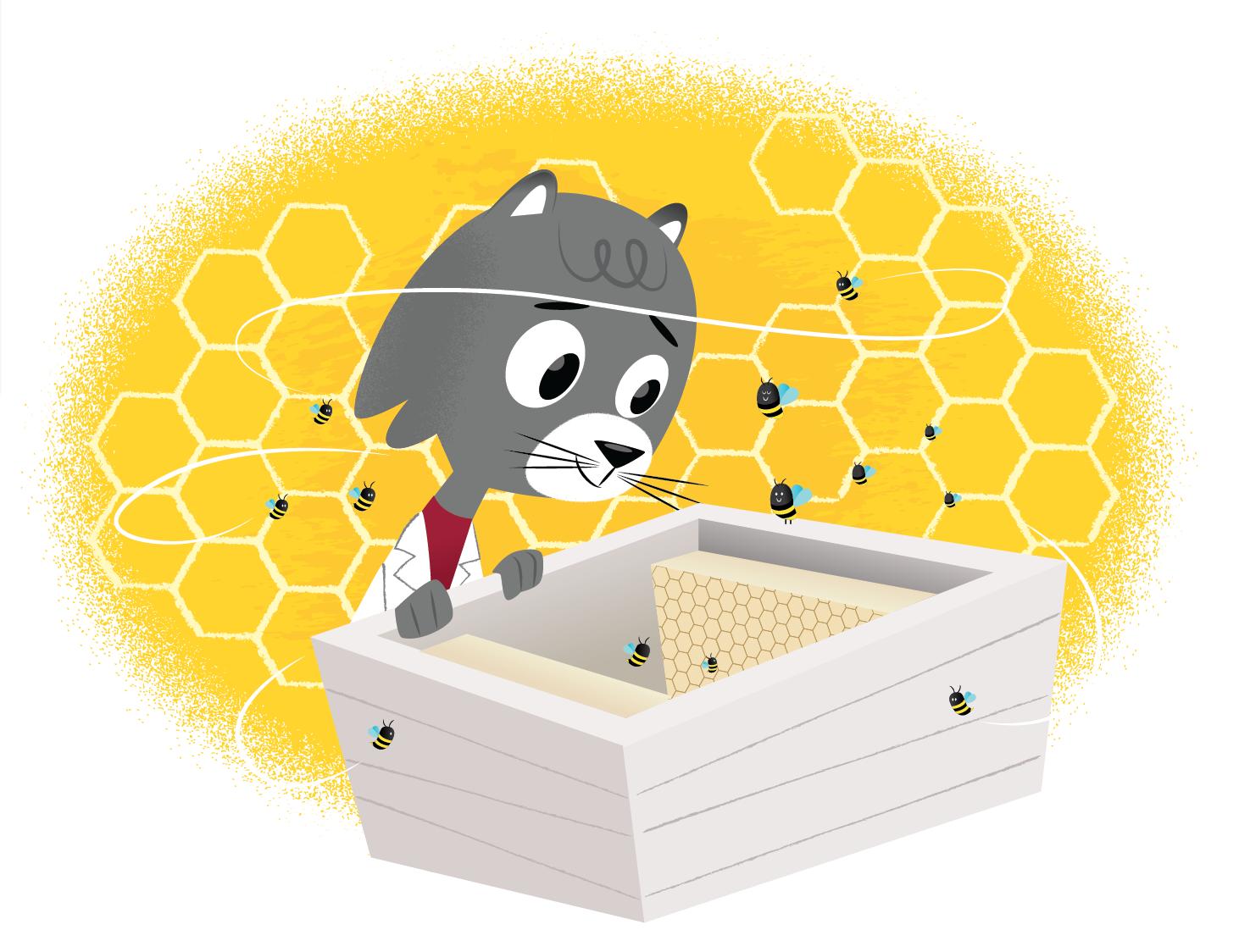 Cat cartoon of Dr. Universe, grey cat with lab coat, examining a box of cartoon bees.