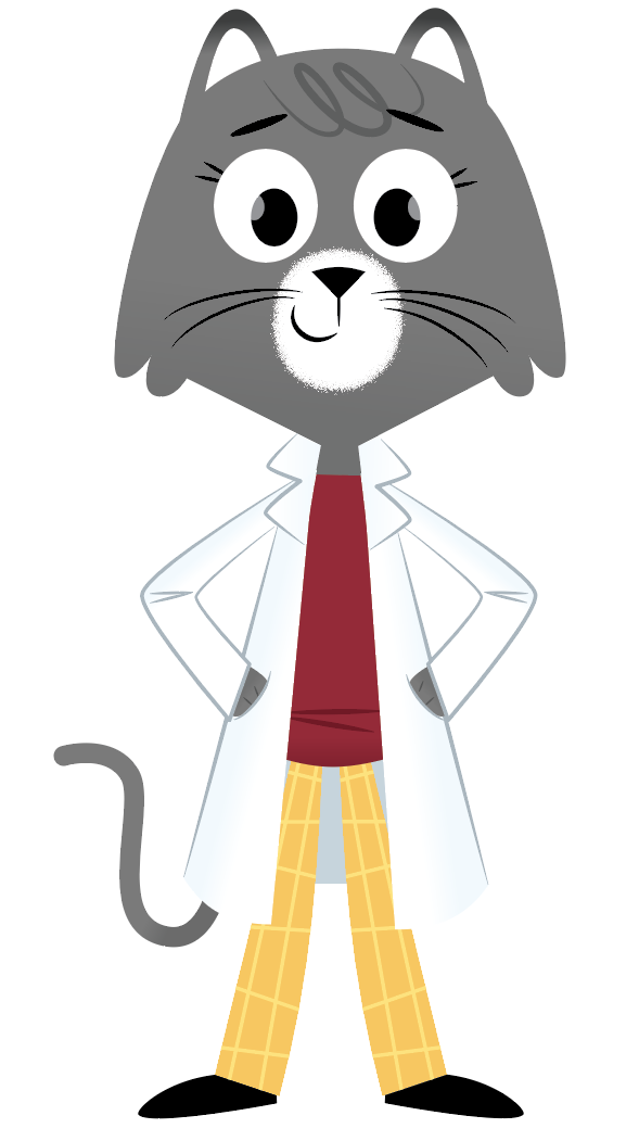 gray cat named dr. universe standing with hands on hips wearing white lab coat, red shirt, and yellow pants