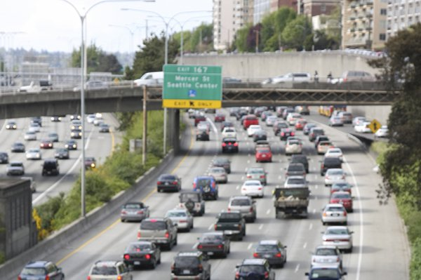 A photo of traffic in Seattle