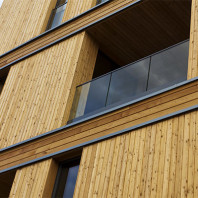 A closeup of a wooden building