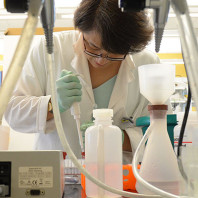 A photo of Weihang Chai doing research in a lab