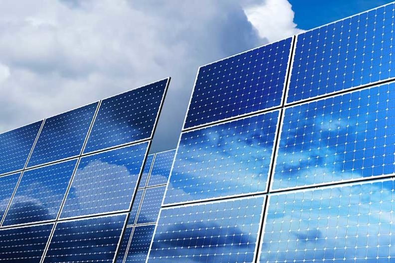 A photo of solar panels