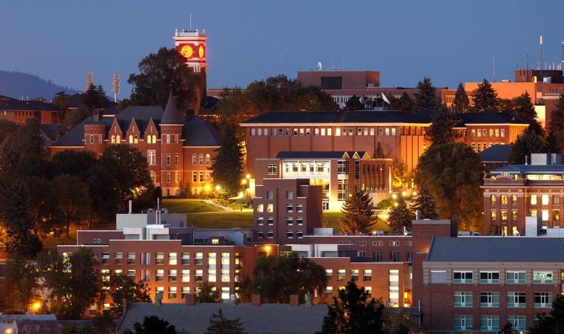 Pullman WSU campus at night
