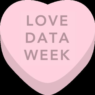 "A ""candy"" heart reading ""Love Data Week"""
