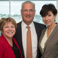 WSU Spokane Chancellor Lisa Brown, Dr. Edmund O. Schweitzer, III, and Beatriz Schweitzer