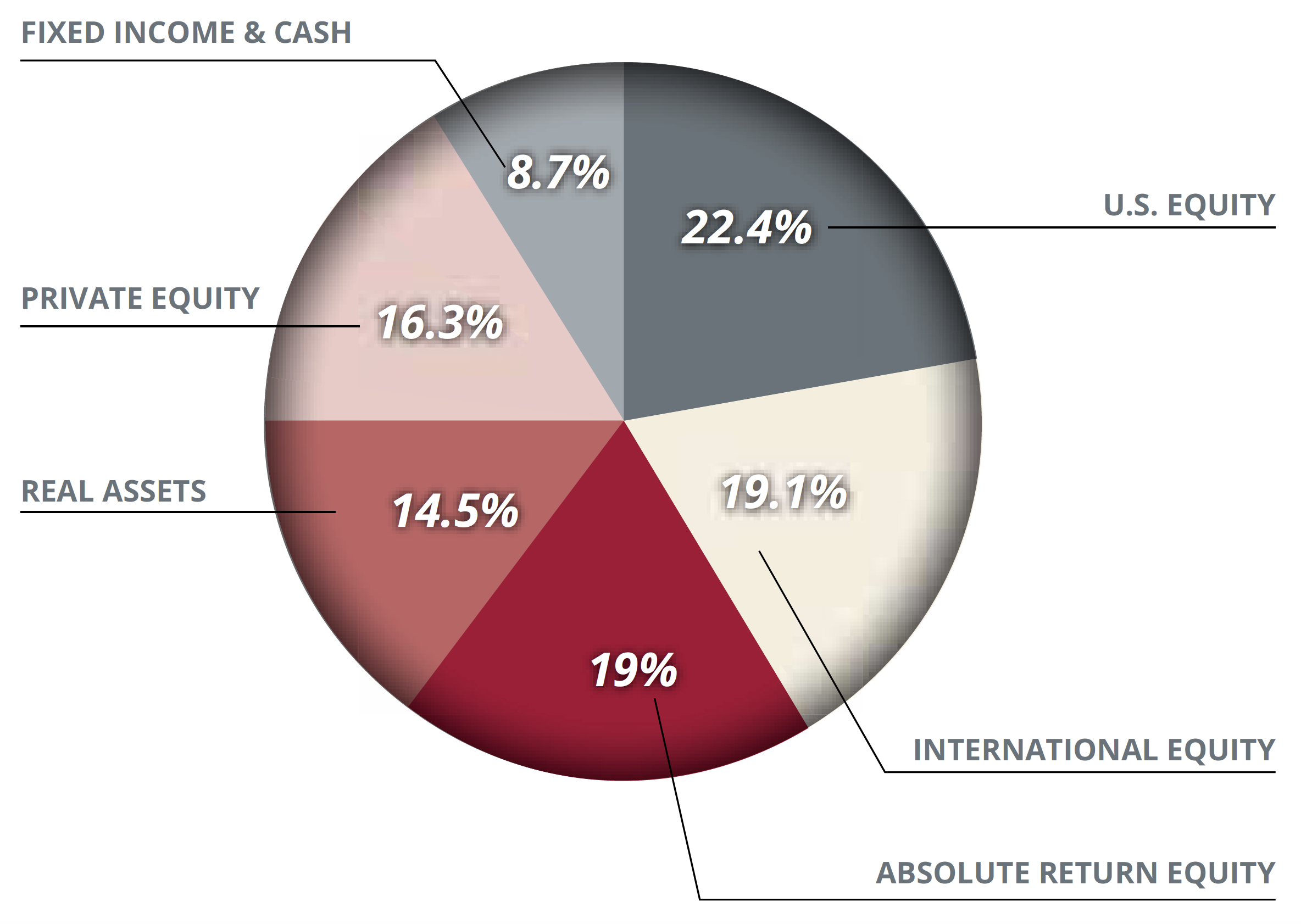 International Equity - 19.1%; US Equity - 22.4%; Absolute Return Equity - 9%; Real Assets - 14.5%; Private equity - 16.3%; Fixed Income & Cash - 8.7%