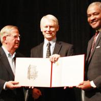 Sam Smith, Sam Reed, and Elson Floyd with award
