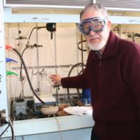 Don Matteson at his lab bench. Photo by Carolyn Joswig-Jones