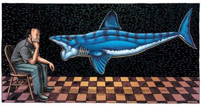"""""""A Man, a Shark, and Twenty Years, 2013"""". (Ray Troll, www.trollart.com)"""