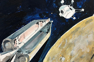 Rendering of a rocket ship and capsule in orbit around a planet inouter space by artist and WSU alumnus George Mathis.