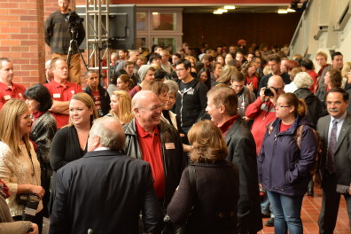 More than 1,000 students, employees and alumni gathered  in the atrium for the naming ceremony.