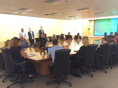 Club members attend a Q&A session with AT&T's marketing division.