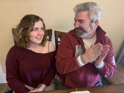 Chris Cooney cracks a joke to daughter Sawyer Moss