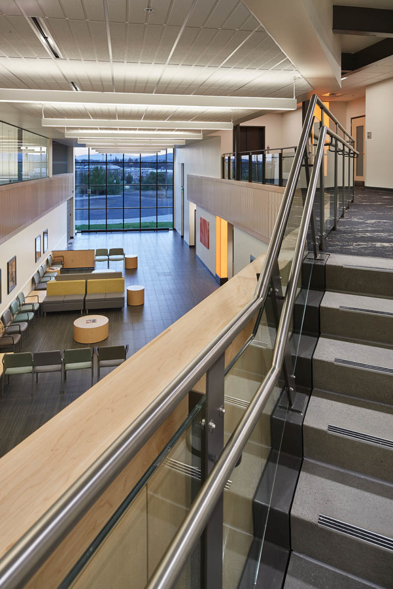 Picture from the staircase showing the first and second floors of the Spokane Teaching Health Clinic