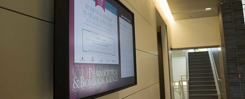 Photo of digital signage in building on campus