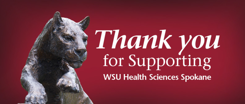 Cougar statue with words of thanks to donors