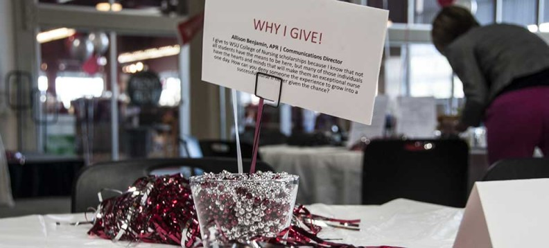 Photo of table decoration from faculty and staff giving campaign